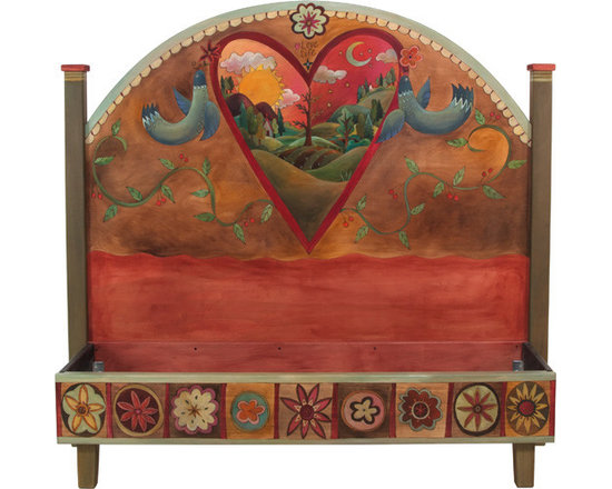 """Sticks Furniture - Sticks Furniture Queen Headboard With Foot Rail BED034 - A one-of-a-kind headboard with foot rail that is hand carved with romantic details and charming scenery. Inscribed with the simple thought """"Love Life""""  above the heart framed scene of a quaint home set on farmland and rolling hills. The rainbow of warm, rich colors can easily mesh with any main color palette while the piece itself will stand out as a collector's item."""