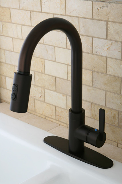 Modern Single Handle Oil Rubbed Bronze Faucet with Pull-Down Spout contemporary-kitchen-faucets