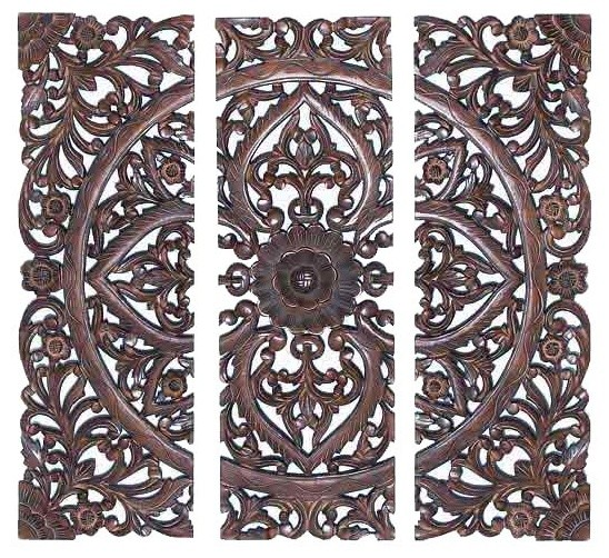 Classic Medallion Wood Wall Grille Set Of 3