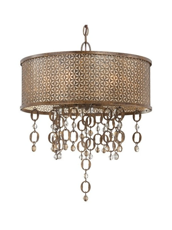 Lamp Shades Add Pizzazz! - Ajourer Collection 6 light drum pendant in French bronze finish adds sparkle and bling with jeweled accents. MPL N6728-258