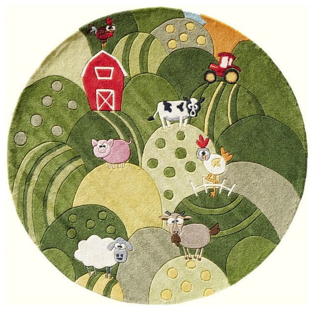 Kids lil mo whimsy round 5 39 round grass area rug for Round rugs for kids