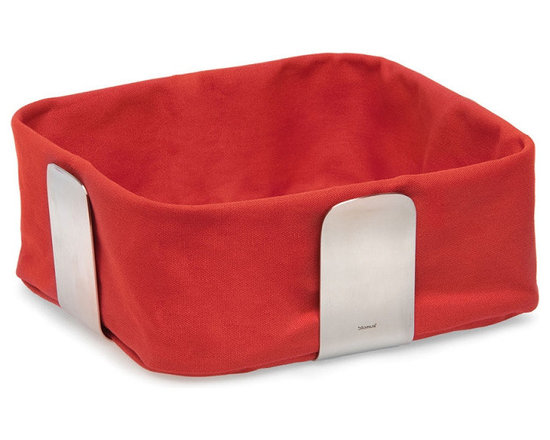 Blomus - Desa Bread Basket - Large, Red - The Desa Bread Basket from Blomus is available in your choice of 4 colors and 2 sizes. Made with brushed stainless steel and cotton fabric.