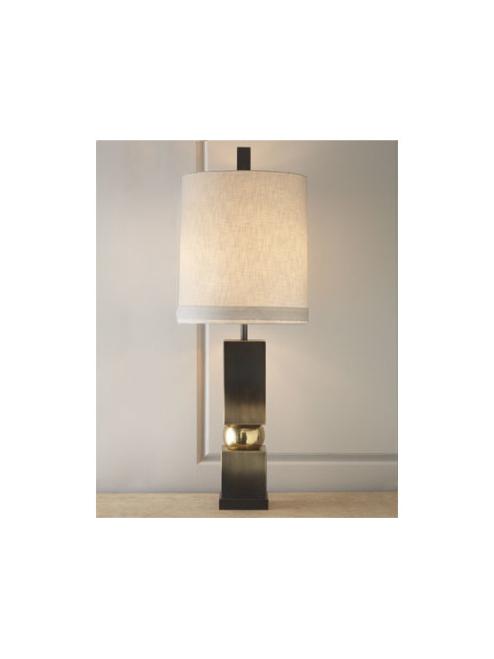 "Global Views - Global Views ""Squeeze"" Lamp - Contemporary elements combine on this lamp of polished bronze encapsulating a brass sphere to create a masterpiece. Handcrafted of brass and bronze. Round drum hardback white linen shade. Inline switch on cord; uses two 60-watt bulbs. 19.5""Dia. x..."