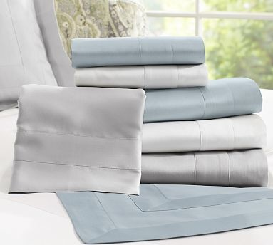 Hotel 600-Thread-Count Sheet Set, Twin, Silver traditional-sheet-and-pillowcase-sets
