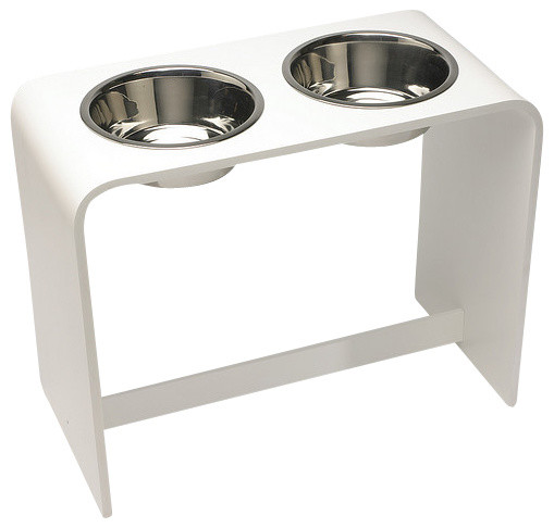 12 Inch Elevated Dog Bowl With Two 2 Quart Bowls White