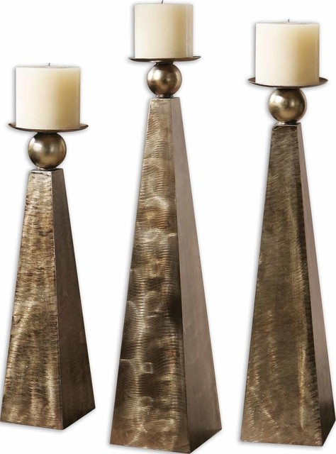 Cesano Bronze Candleholders, Set of 3 traditional-candles-and-candle-holders