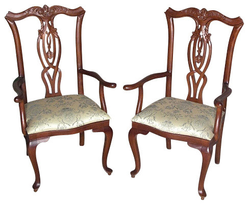 ... Queen Anne Arm Chair : Pair Of Mahogany Queen Anne Floral Dining Arm  Chairs ...