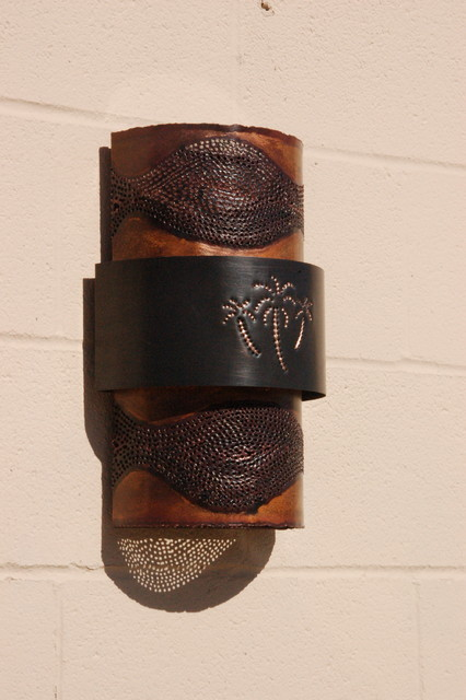 Copper Palm Tree Sconce - Tropical - austin - by Lightcrafters, Inc.