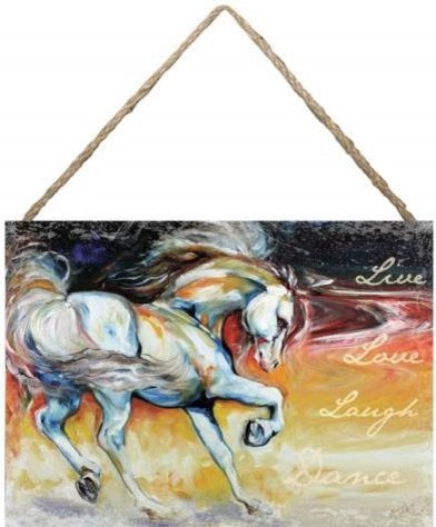 """""""Live Love Laugh Dance"""" Hanging Wall Art Canvas with A Horse eclectic-wall-decals"""
