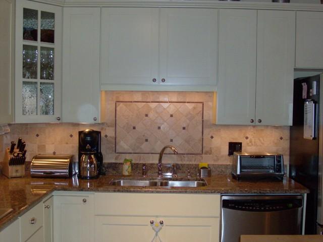 Stone & Metal Kitchen Backsplash traditional-kitchen