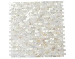 Serene White Bricks Pearls Glass Pattern Tile contemporary-tile