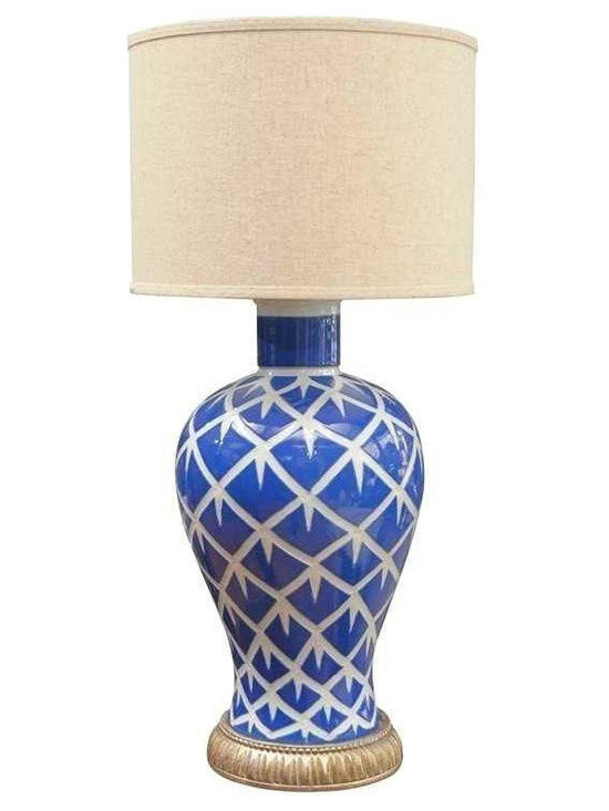 Indigo Chicken Feather Lamp - Dimensions 10.0ʺW × 6.5ʺD × 18.0ʺH