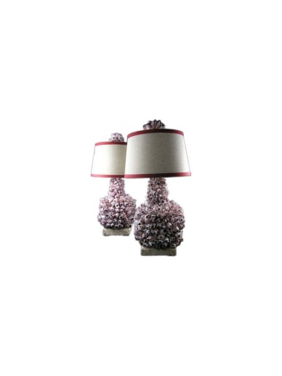 Eco Friendly Furnture and Lighting - A pair of bulbous barnacle lamps. Barnacles hand cut and arranged to create this all natural fabulous lamps.