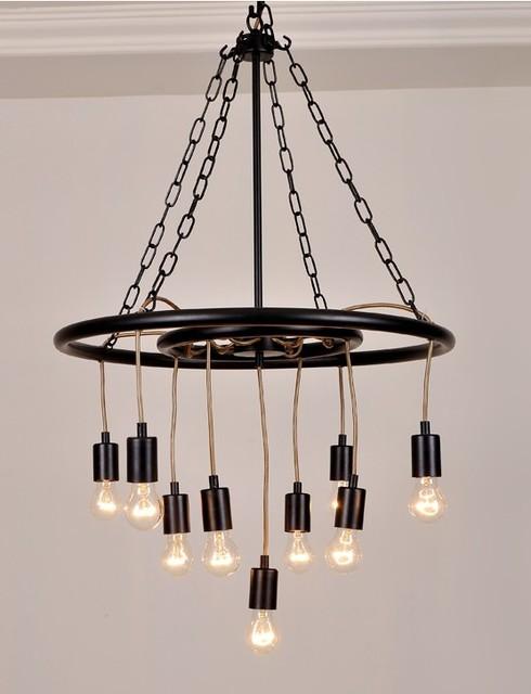 Modern Iron Chandeliers: Post Modern Iron Edison Bulbs Chandelier - Contemporary - Chandeliers,Lighting