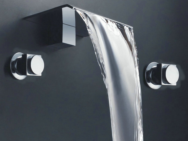 New two hole waterfall basin faucet 8824a chrome finish for Modern bathroom fixtures