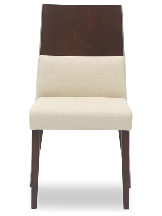 Bryght - Vivian Khaki Fabric Upholstered Dining Chair - The Vivian dining chair, with its unmatched innovative design is sure to lend a modern air to your dining room decor. This well crafted piece offers you the combined luxury of a cushioned as well as a thick and sturdy wooden back, gently curved in to envelope you every time you sit. The Vivian dining chair is ideal for everyday use and longer sittings alike.