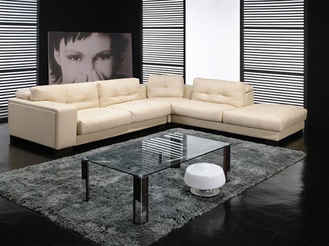Fashionable Covered in All Leather Sectional contemporary sectional sofas