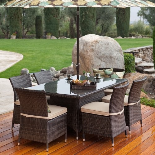 Terrace Living Dublin Wicker Dining Set - Seats 6 contemporary-outdoor-dining-tables
