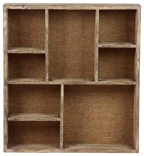 Wood Wall Shelf With 8 Shelves And Burlap Backing