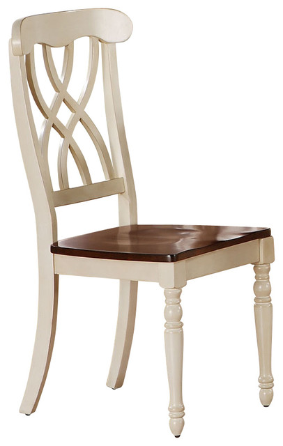 Monarch Specialties 1567 Dining Chair in White and Walnut [Set of 2] traditional-dining-chairs