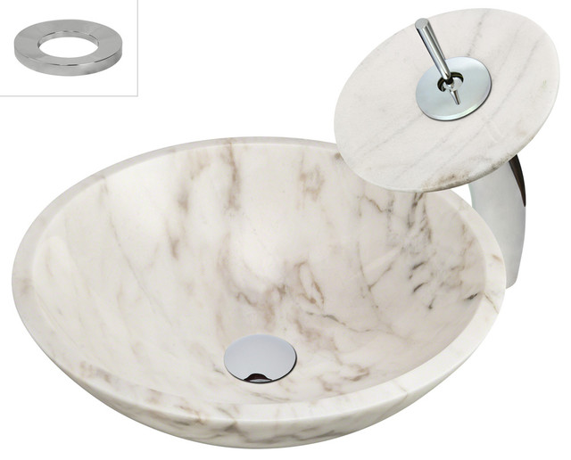 Mr Direct 850w White Granite Vessel Sink Chrome Stone Waterfall Faucet With D Modern