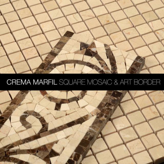 Bathroom Tiles Mosaic Border: Crema Marfil Marble Square Mosaic & Dark Emperador Art