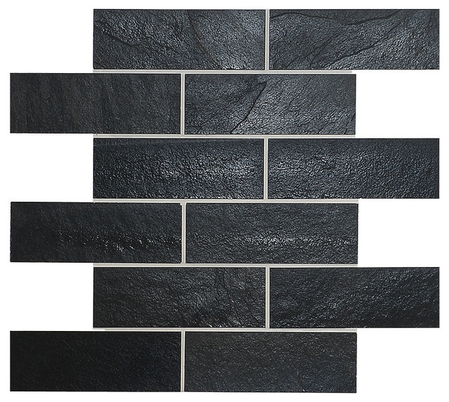 "Black Slate Kitchen Tiles: Black Slate Mosaic Kitchen Backsplash Tile, 12""x12"" Sheet"