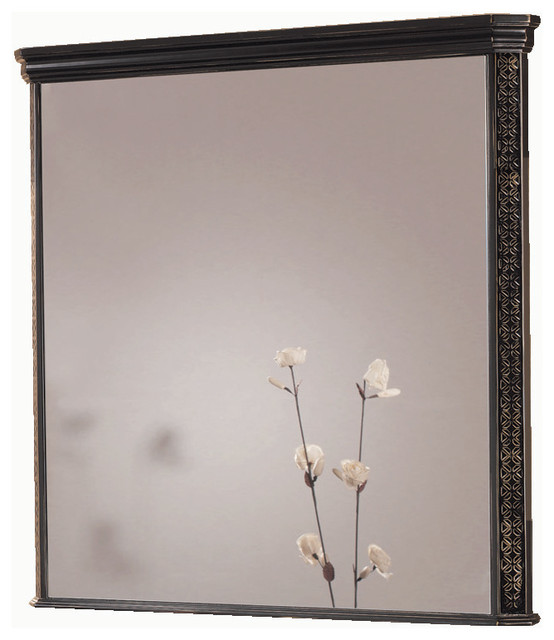 "London 40"" 1/2 bathroom mirror. Black-golden patina. traditional-bathroom-mirrors"