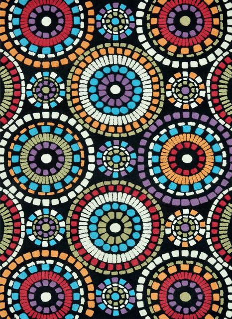 "Loloi Aurora AA-04 3'6"" x 5'6"" Black Circles Rug contemporary-rugs"
