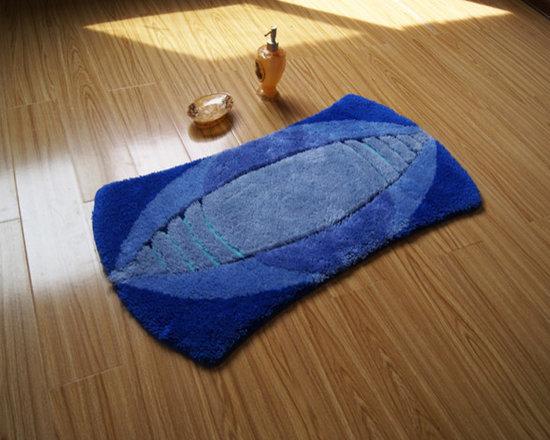 Unique Shape Rugby Design non-slip Blue Bathroom Mat Floor Rug -