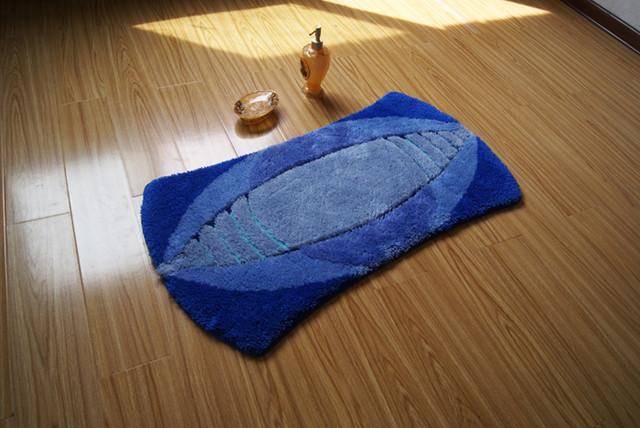 Unique Shape Rugby Design non-slip Blue Bathroom Mat Floor Rug contemporary-bath-mats