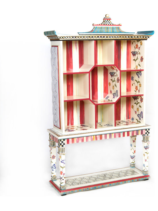 Butterfly Pagoda Bookshelf with Console Table | MacKenzie-Childs - Showcase your treasures in this fabulous hand-painted collection, decorated in luscious raspberry and accented in spring-colored stripes, butterfly decals, golden highlights, and Courtly Check® details.