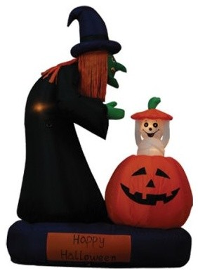 BZB Goods 6 Foot Animated Inflatable Witch & Ghost Rising From Pumpkin modern-bird-baths