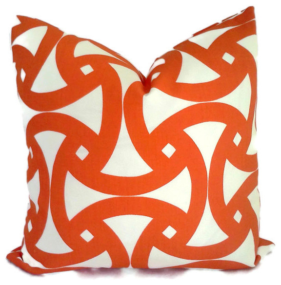 Trina Turk Persimmon Santorini Indoor/Outdoor Pillow by Pop O' Color contemporary-outdoor-cushions-and-pillows