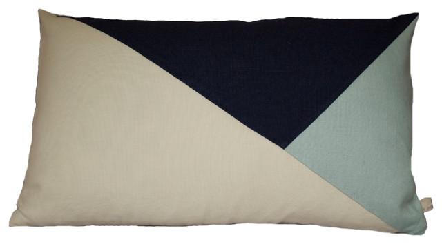 Geometric Color Block Pillow Cover | Ecru + Indigo + Pale Teal Linen | The Artfu modern-decorative-pillows