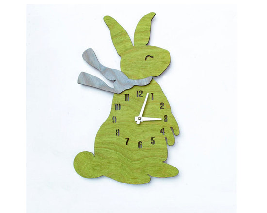 Lime Baby Bunny Children's Wall Clock -