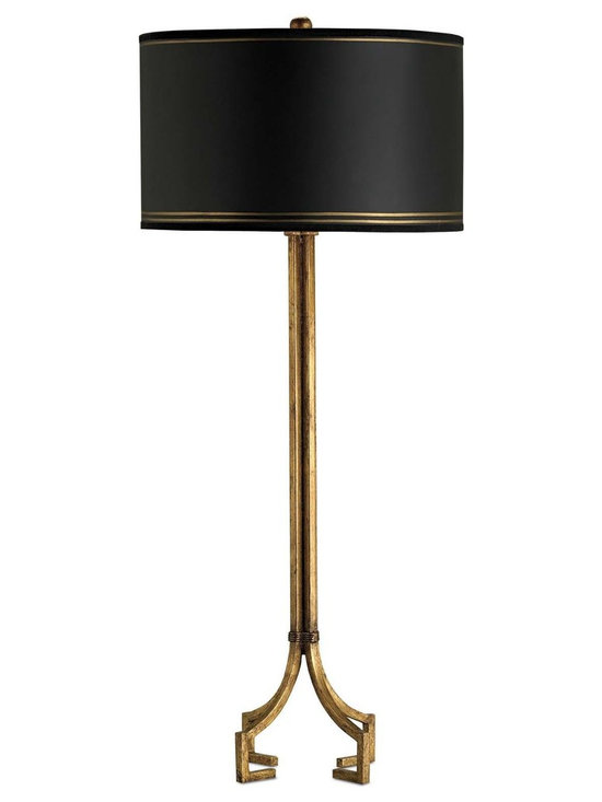 "Currey & Company Artisan Table Lamp in Gold Leaf - The Currey & Company Artisan Table Lamp Features a Gold Leaf Finish. Features a Round Black Shade. Switch Type: 3-way. Product Dimensions: 38"" High. Approximate Item Weight: 6 Lbs. Shade Size:16x16x9.5."