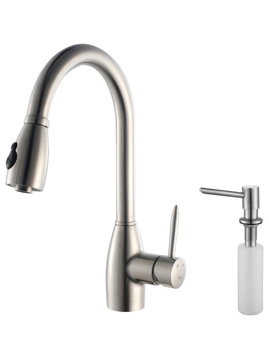 Kraus - Kraus KPF-2130-SD20 Single Lever Stainless Steel Pull Out Kitchen Faucet - Update the look of your kitchen with this multi-functional Kraus pull-out faucet