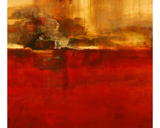 Z Gallerie - New Hope 1 - Glass Coat - The strikingly red and gold hues in this giclee by Randy Hibberd derive from his passion for geography. The combination creates a feeling of effervescence and hope, much like its name. New Hope I feature a high resolution image printed directly on canvas with an epoxy, glass coat finish. The epoxy, resin based finish that is applied to the image is a multi-step process that is hand poured and renders a durable and protective polished glass coated finish. This creates a greater level of depth and dimension to the piece. The finish also serves a sealer, which is moisture resistant, protects for warping or sagging, and ensures the lasting original beauty of the artwork. Special Orders  You will have 3 days from the transaction date to change or cancel your special order purchase. Special orders cannot be returned or exchange.