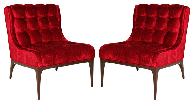 Pair of Biscuit Tufted Slipper Chairs traditional-chairs
