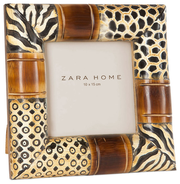 wood and animal print picture frame eclectic picture frames by zara home. Black Bedroom Furniture Sets. Home Design Ideas