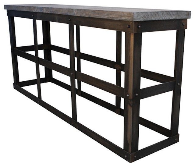 Modern Industrial Reclaimed Wood and Rustic Metal Console Table - Side ...