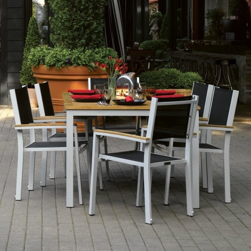 Contemporary Outdoor Dining Furniture: Oxford Garden Travira Black Patio Dining Set