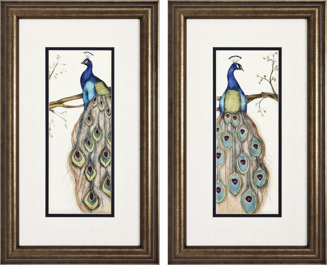 Contemporary Set of Two Peacock I &amp; II Framed Wall Art contemporary artwork