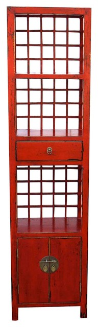 Vintage Red Bookcase Cabinet - Asian - Bookcases - by Mortise & Tenon Custom Furniture Store