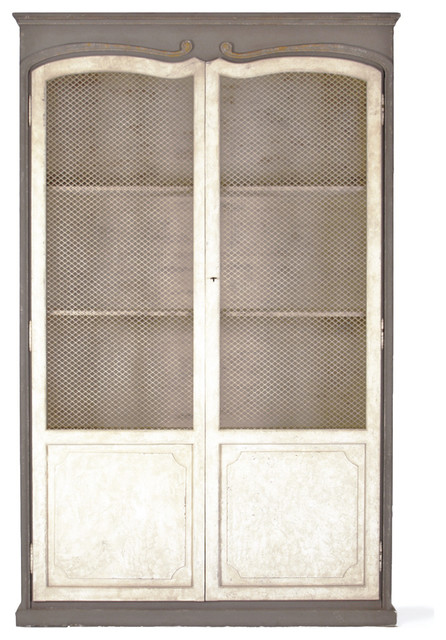 Dorsey Putty White French Country Gray Mesh Tall Cabinet - Transitional - Storage Cabinets - by ...