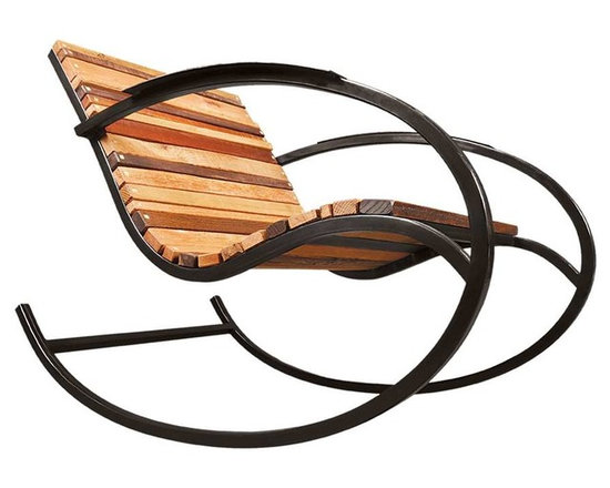 "Shiner - Shiner Lumberyard Rocker, Black, Walnut - Modern, eco-friendly furnishings made in Atlanta, Georgia. Our goal is to transform tons of landfill-destined materials into killer designs. By building pieces out of disposable elements, we refine the future by upcycling the past. Everything from the steel, hardwoods, and cardboard to our lexan and linen is diverted from the incinerator. We strive to make every piece knock-down for ease of shipping with less environmental impact. This piece is a carbon steel frame your choice of blackened or brushed steel with wood in your choice of Pine, Oak, Walnut, or Calico (all woods). The Lumber Yard rocker measures 26""Wx39""Dx31.5""H and can be used indoors or outdoors."