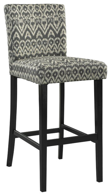 Linon Morocco Driftwood Bar Stool Black Contemporary