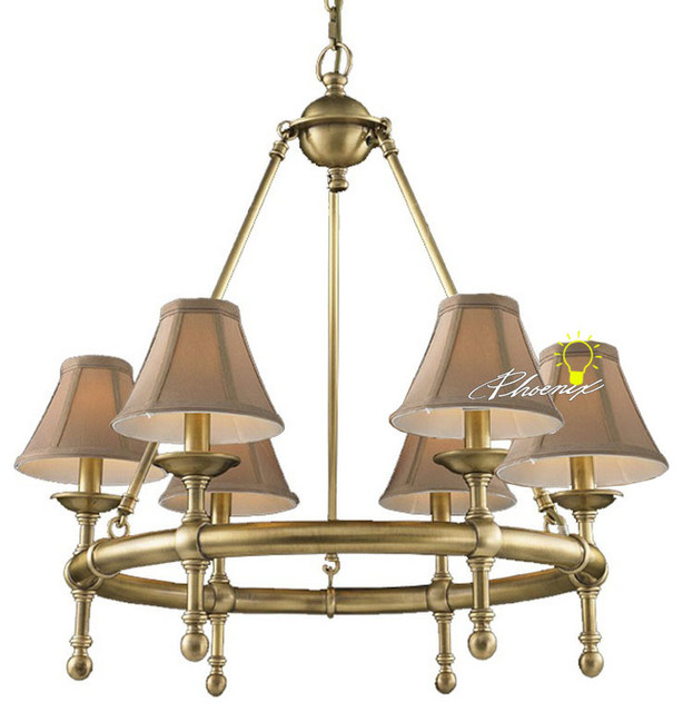 Modern Chandeliers Nyc: Harbor House Copper And 6 Fabric Shades Chandelier