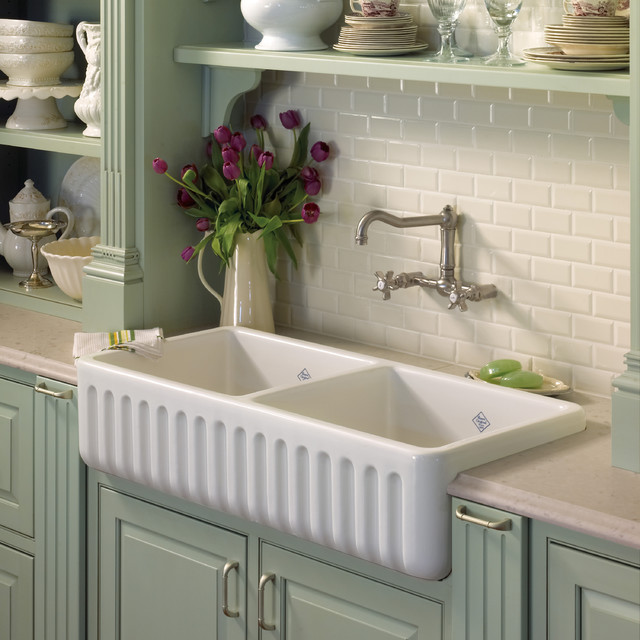 Rohl Farmhouse Sink : ROHL - Shaws Original 2-Bowl Fireclay Fluted Apron Kitchen Sink ...